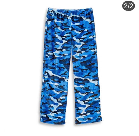 Blue Camo Fuzzy Pants