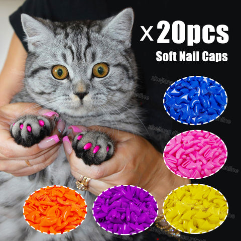 20pcs Silicone Soft Cat Nail Caps / Cat Paw Claw / Pet Nail Protector/Cat Nail Cover with free Glue and Applictor - DESI PANDA