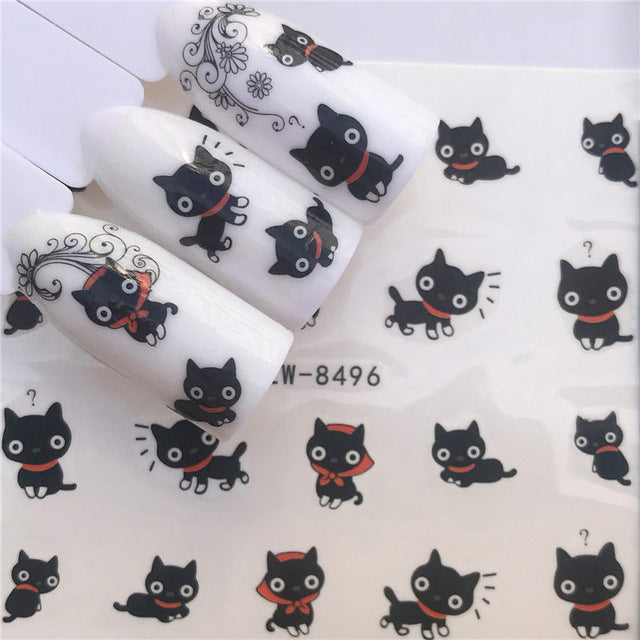 YWZLE 28 Designs Nail Sticker Set Black Dreamcather Feather Decal Water Transfer Slider For Nails Art Decor - DESI PANDA