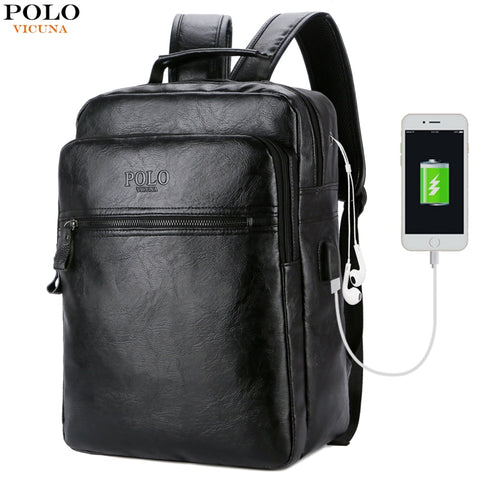 Leather USB Travel Backpack