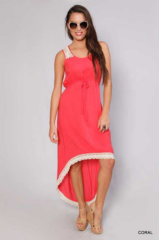 High Low Coral Lace Crochet Dress