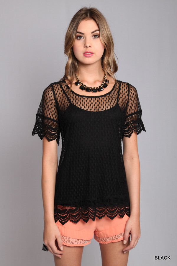 Black Lace Crew Neck Top