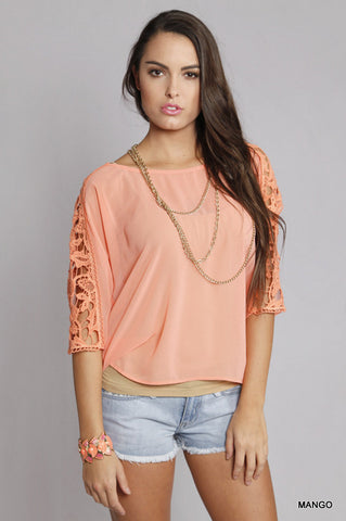 Coral Lace Embellished 3/4 Sleeve Top