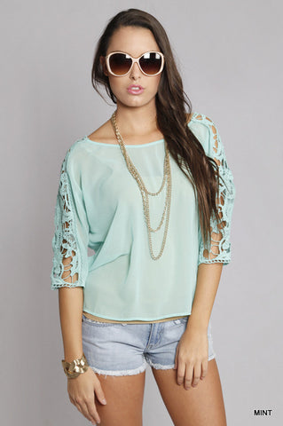 Mint Lace Embellished 3/4 Sleeve Top