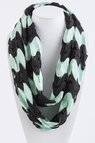Mint and Black Chevron Stripe Infinity Scarf