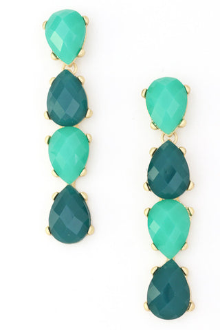 Teal/Mint Acrylic Tear Drop Dangle Earrings