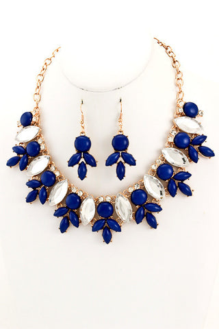 Royal Blue Crystal Bib Statement Necklace