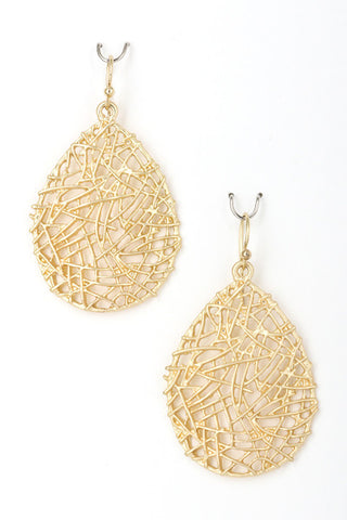 Metal Filigree Drop Earrings-Matte Gold or Silver