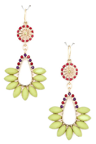 Lime Acrylic Jewel Dangle Earrings
