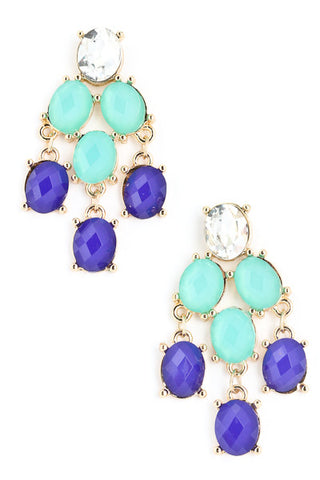 Aqua/Royal Blue Chandelier Earrings