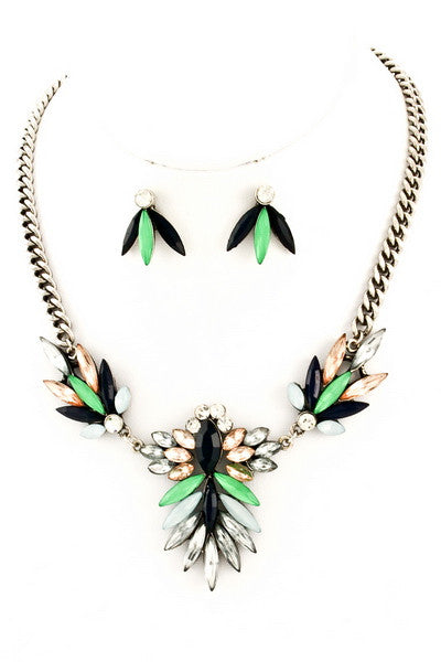 Jewel Drop Statement Necklace