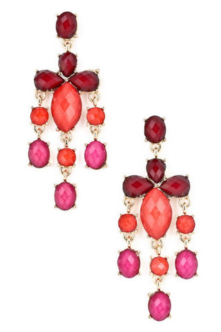 Ombre Jewel Cluster Dangle Earrings