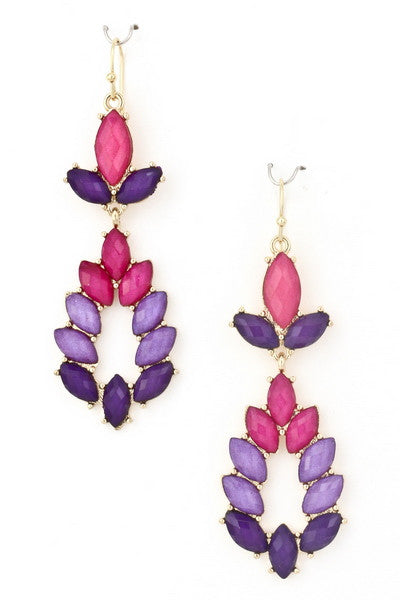 Purple Acrylic Teardrop Earrings