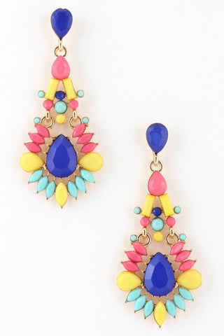 Jewel Teardrop Earrings-3 Color Options