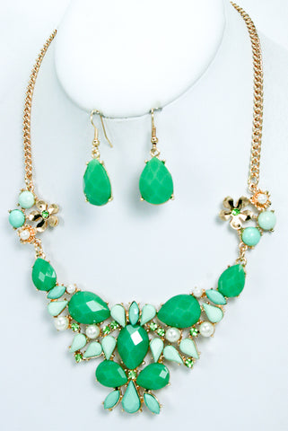 Mint Acrylic Jewel Studded Necklace and Earrings Set