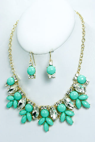 Crystal Bib Statement Necklace-4 Color Options