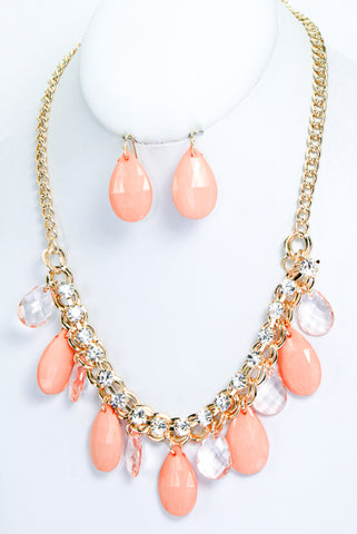 Crystal Studded Teardrop Necklace Set-3 Color Options