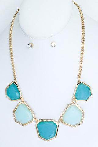 Crystal Studded Statement Necklace-3 Color Options