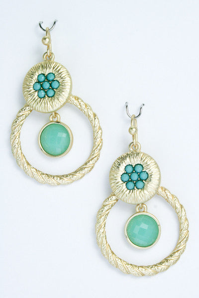 Textured Flower Hoop Earrings-2 Color Options