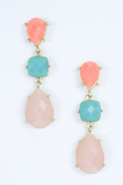 Acrylic Trio Drop Earrings-2 Color Options