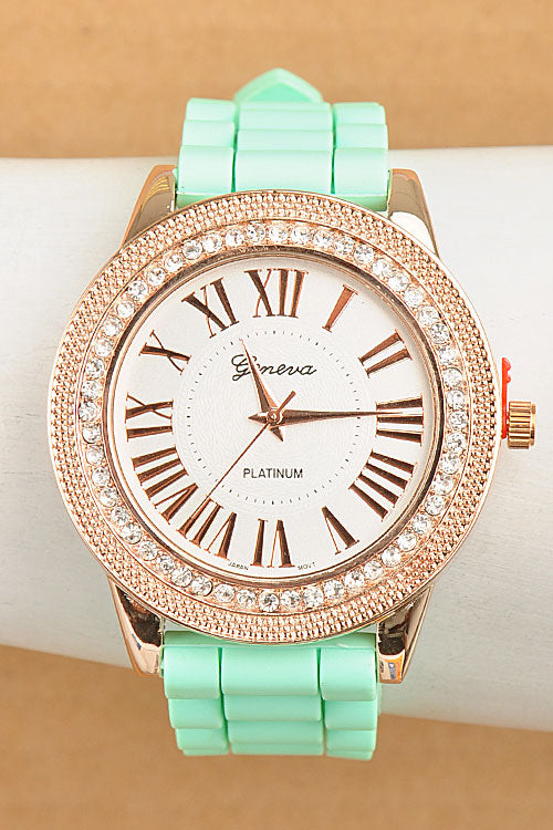 Rose Gold Silicone Rhinestone Watch-2 Color Options