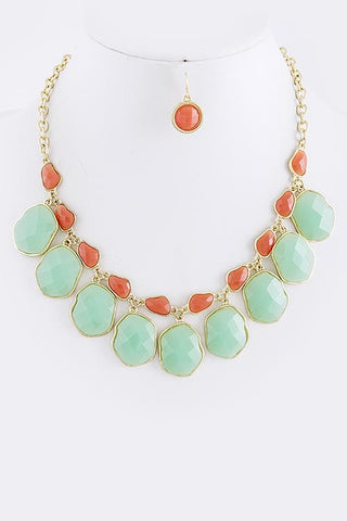 Mint and Orange/Coral Jewel Dangle Necklace Set