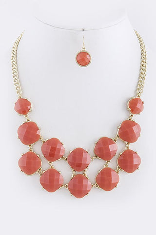 Orange Faceted Square Double Stacked Necklace