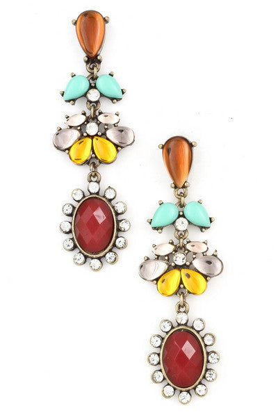 Burgundy Acrylic Jewel Chandelier Earrings