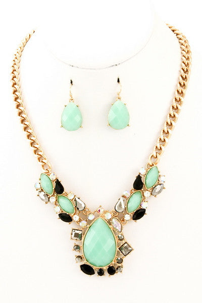 Mint Stone Statement Necklace