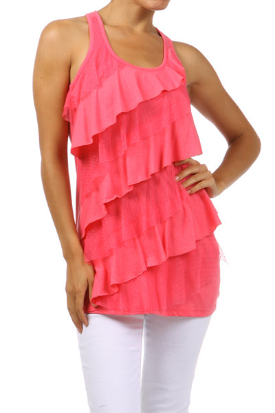 Tiered Racerback Tank Top-Coral or White