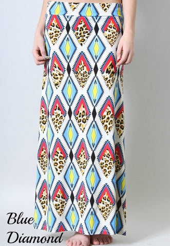 Blue Diamond Animal Print Maxi Skirt
