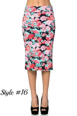 Pink and Black Floral Pencil Skirt