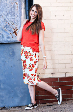 Ivory and Red Floral Pencil Skirt