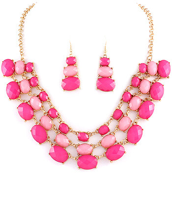 Stunning Layered Bib Necklace and Earrings-2 Color Options