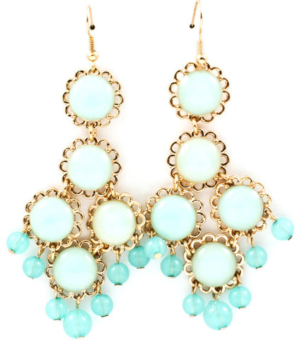 Acrylic Circular Statement Earrings-Mint Blue or Pink