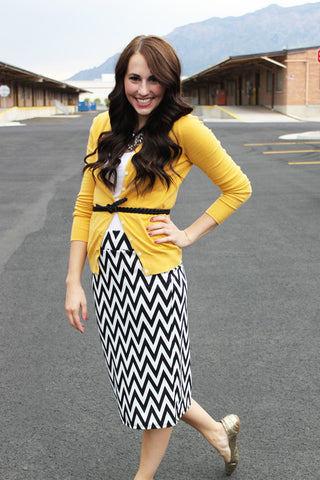 Black and White Chevron Pencil Skirt