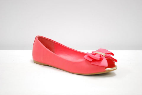 Dolly Coral Peep Toe Flats