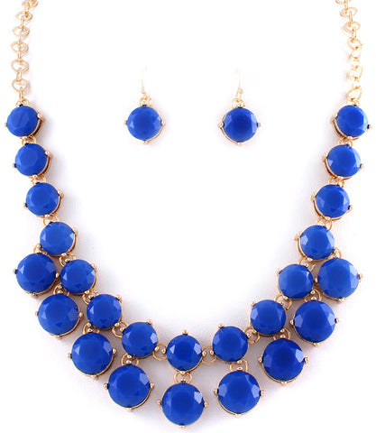 Royal Blue Statement Necklace and Earrings