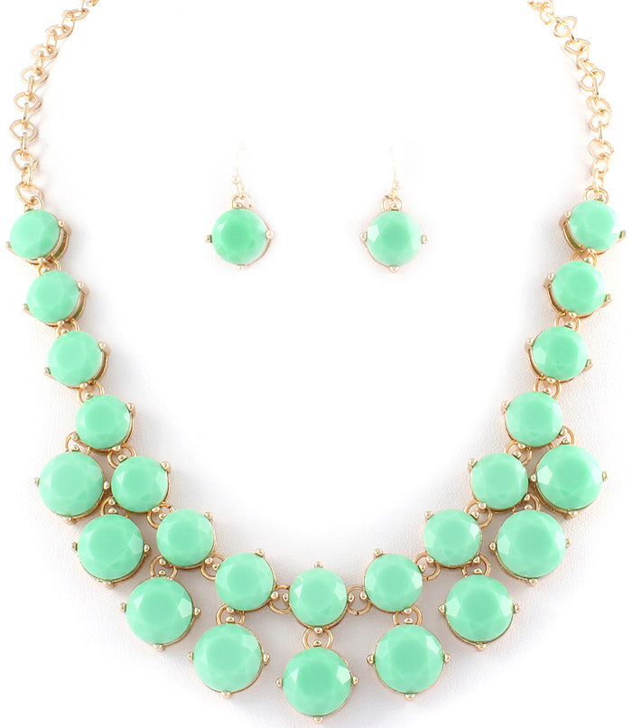 Mint Statement Necklace and Earrings