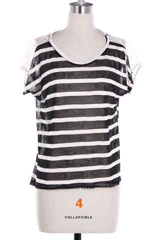 Black Lace Stripe Shirt