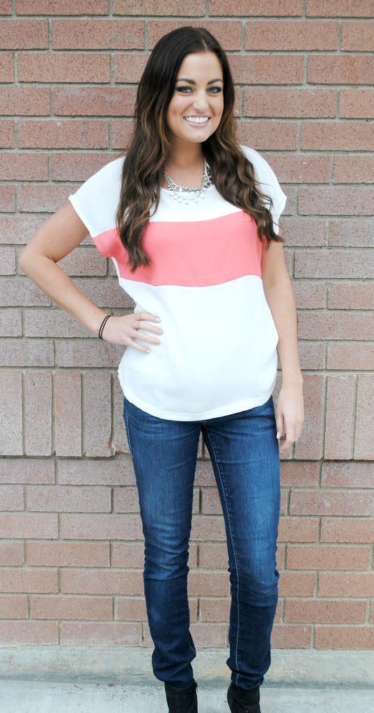 Short Sleeve Color Block Top- 3 Color Options
