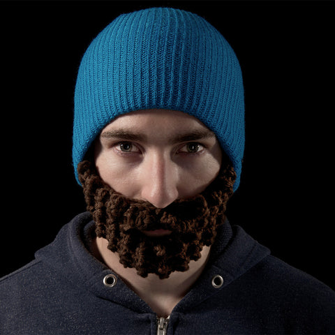 Beard hat Blue (Attached Brown)
