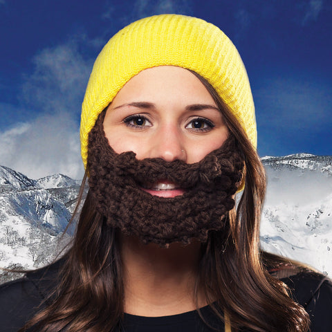 Beard Hat Yellow (Attached Brown)