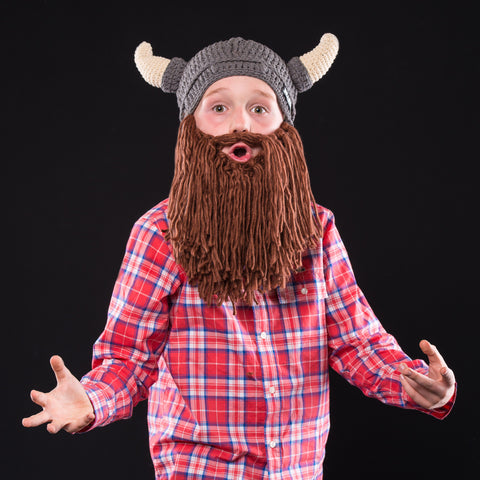 Horned Viking Beard Hat for Kids