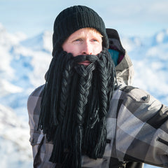 skiing beard hat