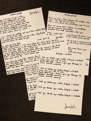 Handwritten Lyric Sheet - CTRL