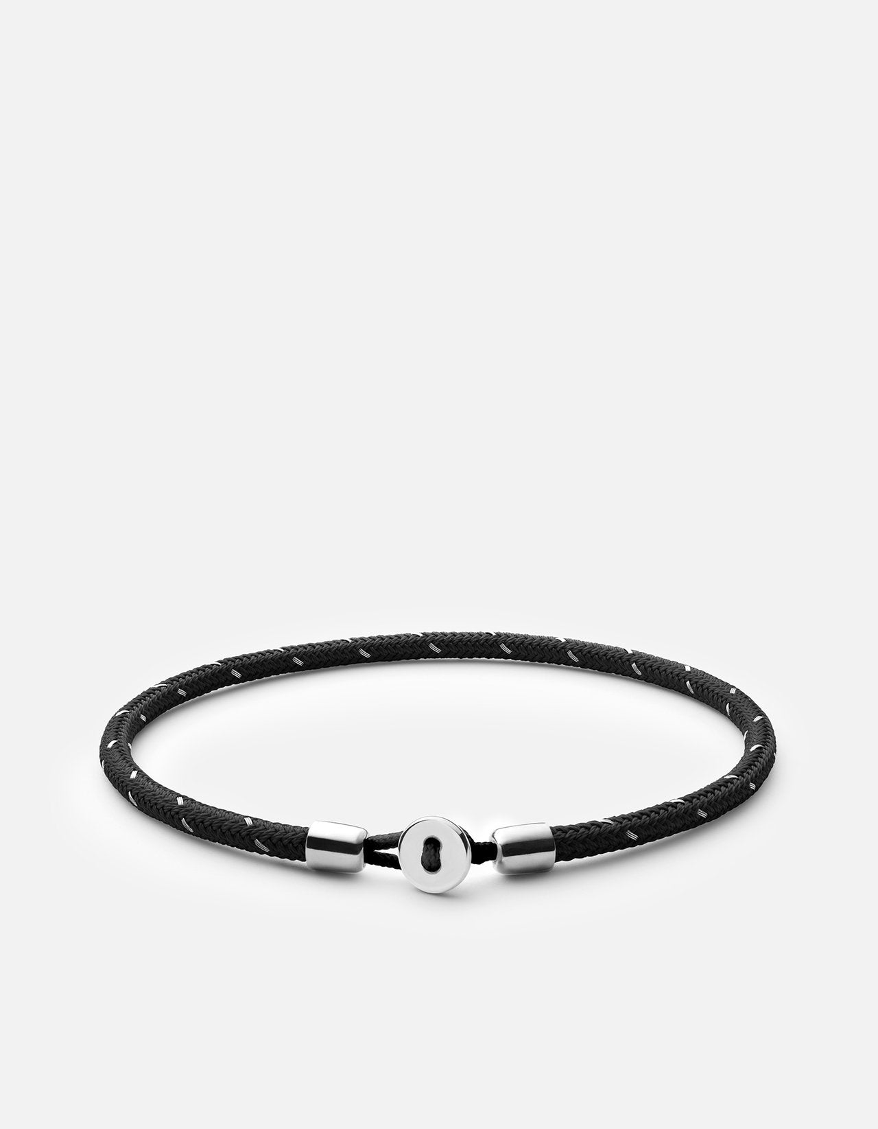 Miansai Nexus Rope Bracelet, Sterling Silver, Polished Black/Steel