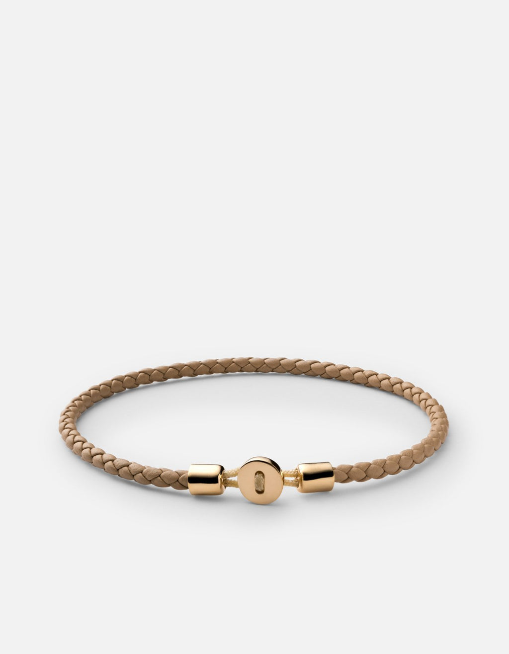 Miansai Nexus Leather Bracelet, Gold Vermeil, Polished Natural