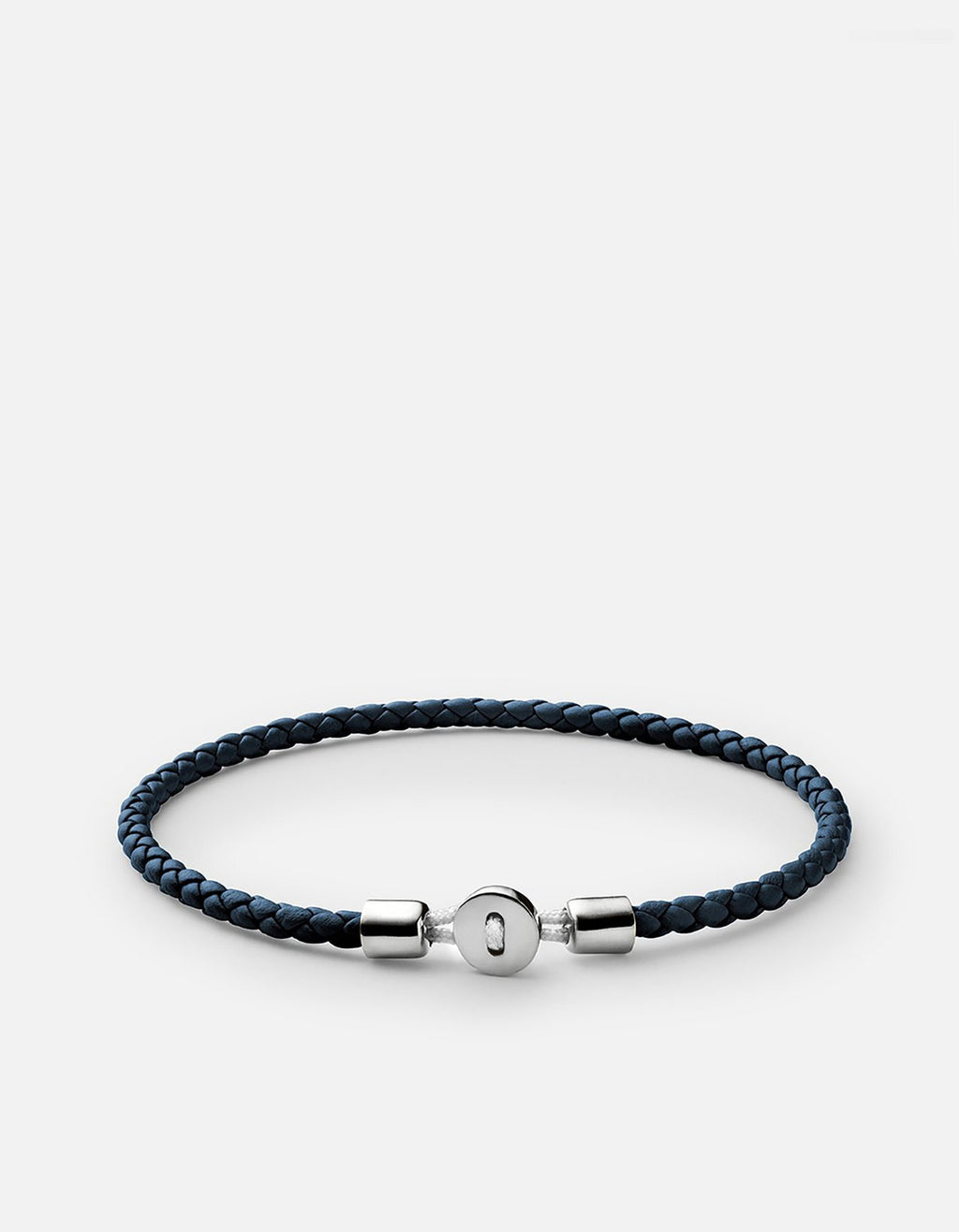 Miansai Nexus Leather Bracelet, Sterling Silver, Polished Light Navy
