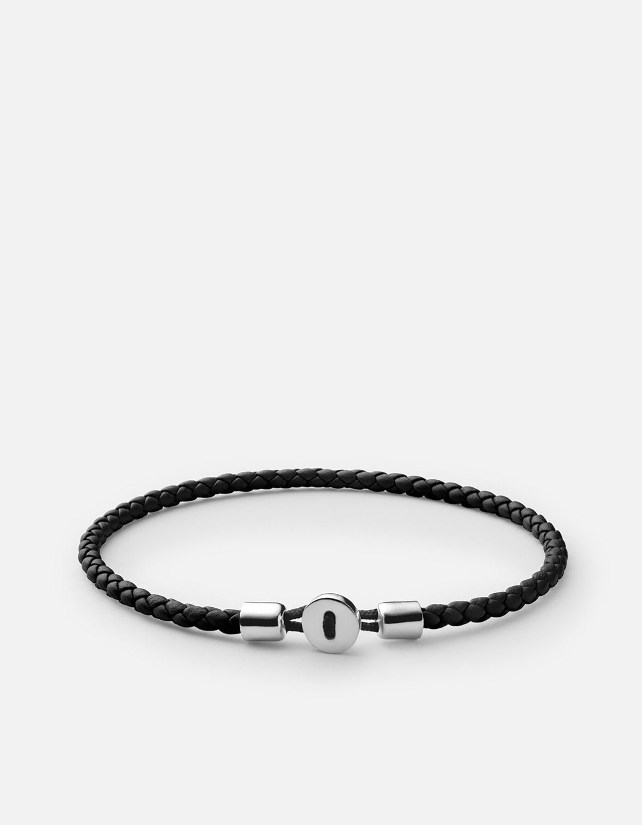 Miansai Nexus Leather Bracelet, Sterling Silver, Polished Black